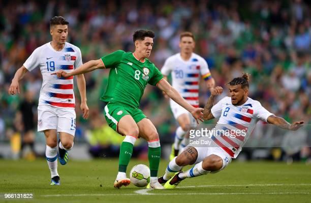 Dublin Ireland 2 June 2018 Callum O'Dowda of Republic of Ireland in action against Jorge Villafaña left and DeAndre Yedlin of United States during...