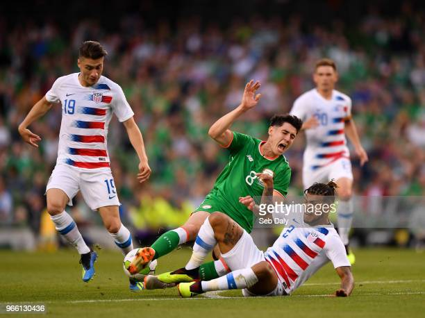 Dublin Ireland 2 June 2018 Callum O'Dowda of Republic of Ireland is fouled by DeAndre Yedlin of United States during the International Friendly match...