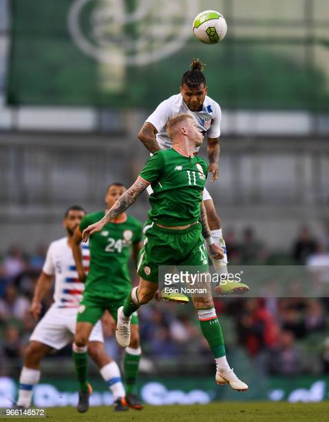Dublin Ireland 2 June 2018 James McClean of Republic of Ireland in action against DeAndre Yedlin of United States during the International Friendly...