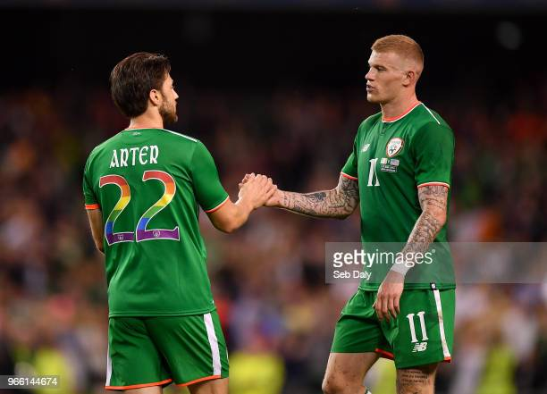 Dublin Ireland 2 June 2018 James McClean right and Harry Arter of Republic of Ireland congratulate each other following their side's victory during...