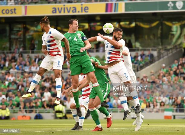 Dublin Ireland 2 June 2018 John O'Shea of Republic of Ireland in action against DeAndre Yedlin and Cameron CarterVickers of United States during the...