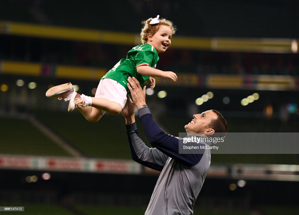 Dublin , Ireland - 2 June 2018; John O'Shea of Republic of Ireland plays with his daughter Ruby following the International Friendly match between Republic of Ireland and the United States at the Aviva Stadium in Dublin.