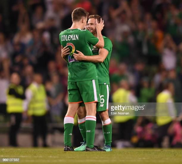 Dublin Ireland 2 June 2018 Seamus Coleman left and Alan Judge of Republic of Ireland after the International Friendly match between Republic of...