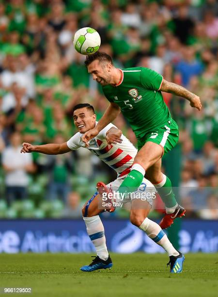 Dublin Ireland 2 June 2018 Shane Duffy of Republic of Ireland in action against Rubio Rubin of United States during the International Friendly match...
