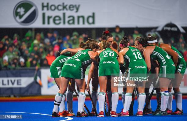 Dublin Ireland 2 November 2019 The Ireland team discuss tactics for a short corner during the FIH Women's Olympic Qualifier match between Ireland and...
