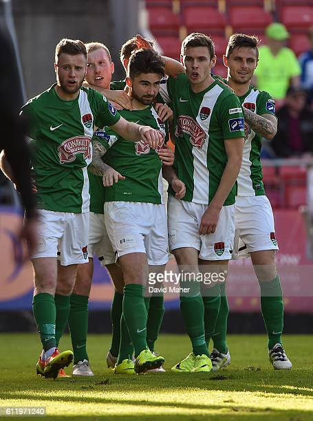 Dublin , Ireland - 2 October 2016; Sean Maguire, second from left, of Cork City celebrates after scoring his sidess second goal with teammates Kevin...