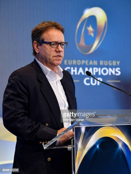 Dublin Ireland 2 October 2017 EPCR Chairman Simon Halliday in attendance at the European Rugby Champions Cup and Challenge Cup 2017/18 season launch...