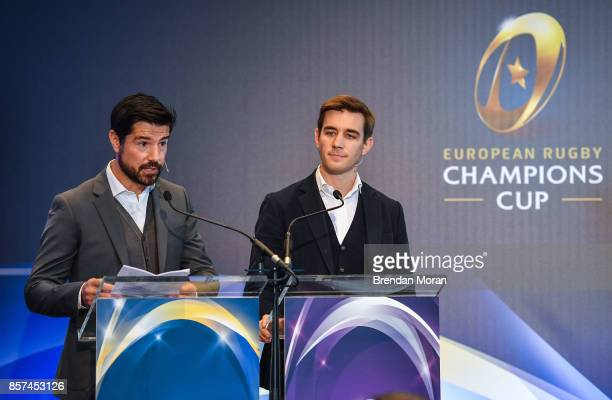 Dublin Ireland 2 October 2017 Event MC's Craig Doyle left and Alex Payne during the European Rugby Champions Cup and Challenge Cup 2017/18 season...