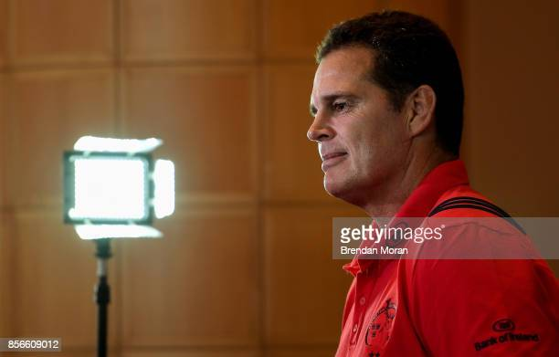 Dublin Ireland 2 October 2017 Munster head coach Rassie Erasmus in attendance at the European Rugby Champions Cup and Challenge Cup 2017/18 season...