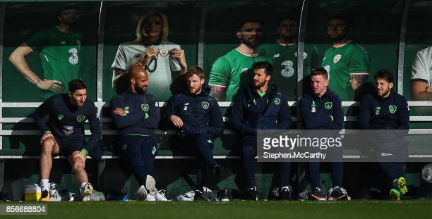 Dublin Ireland 2 October 2017 Republic of Ireland players from left Stephen Ward David McGoldrick Eunan O'Kane Shane Long Jonathan Hayes and Harry...