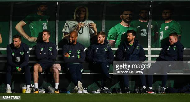 Dublin Ireland 2 October 2017 Republic of Ireland players from left Shane Duffy Stephen Ward David McGoldrick Eunan O'Kane Shane Long and Jonathan...