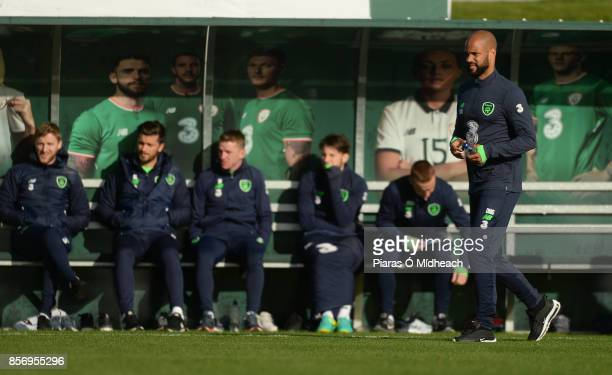 Dublin Ireland 2 October 2017 Republic of Ireland's David McGoldrick during squad training at the FAI National Training Centre in Abbotstown Dublin