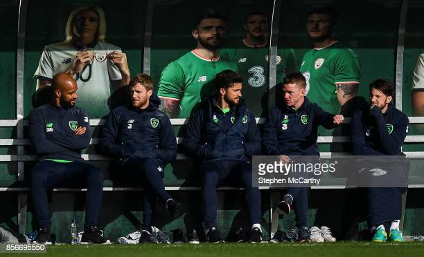 Dublin Ireland 2 October 2017 Republic of Ireland's players from left David McGoldrick Eunan O'Kane Shane Long Jonathan Hayes and Harry Arter watch...