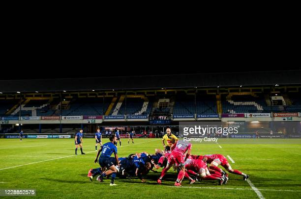 Dublin , Ireland - 2 October 2020; A general view of a scrum during the Guinness PRO14 match between Leinster and Dragons at the RDS Arena in Dublin.