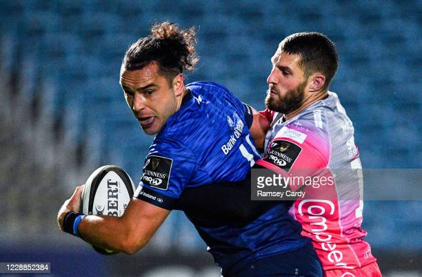 Dublin , Ireland - 2 October 2020; James Lowe of Leinster is tackled by Jonah Holmes of Dragons during the Guinness PRO14 match between Leinster and...
