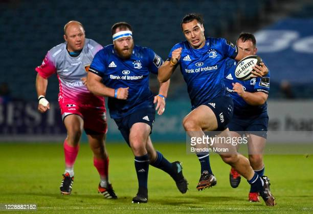 Dublin , Ireland - 2 October 2020; James Lowe of Leinster makes a break during the Guinness PRO14 match between Leinster and Dragons at the RDS Arena...