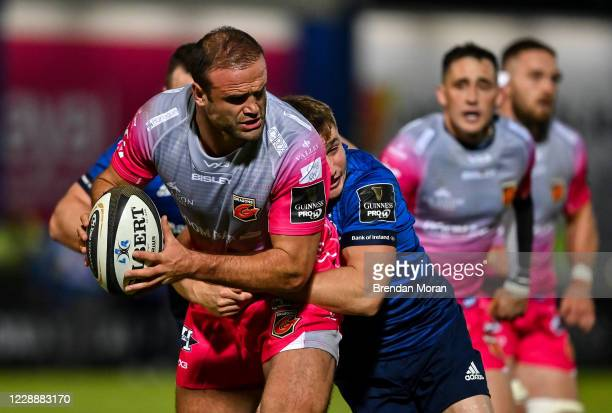 Dublin , Ireland - 2 October 2020; Jamie Roberts of Dragons is tackled by Jordan Larmour of Leinster during the Guinness PRO14 match between Leinster...