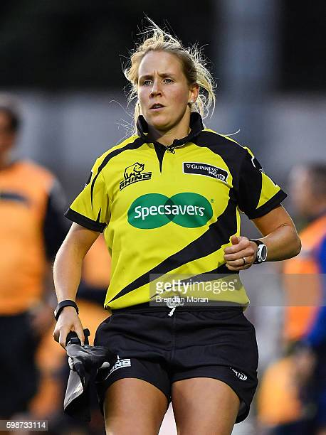 Dublin Ireland 2 September 2016 Touch judge Joy Neville during the Guinness PRO12 Round 1 match between Leinster and Treviso in the RDS Arena...