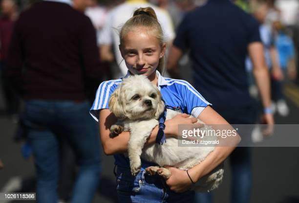Dublin , Ireland - 2 September 2018; Dublin supporter Laydon Gardner from Drumcondra, age 13, with her Shih Tzu Toby prior to the GAA Football...