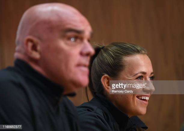 Dublin Ireland 2 September 2019 Captain Katie McCabe and interim manager Tom O'Connor during a Republic of Ireland Women's press conference at the...