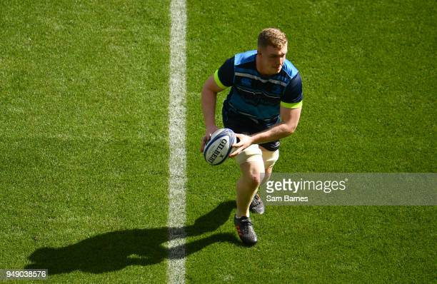 Dublin Ireland 20 April 2018 Dan Leavy during the Leinster Rugby captain's run at the Aviva Stadium in Dublin