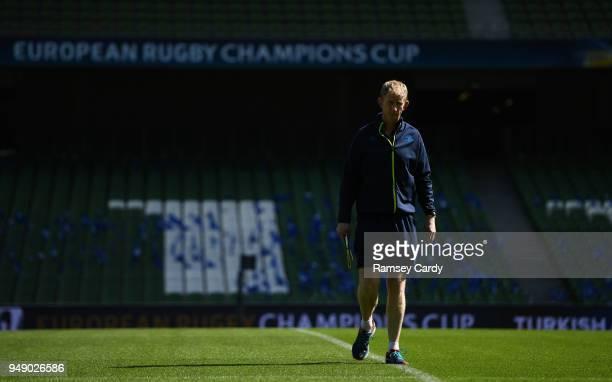 Dublin Ireland 20 April 2018 Head coach Leo Cullen during the Leinster Rugby captain's run at the Aviva Stadium in Dublin