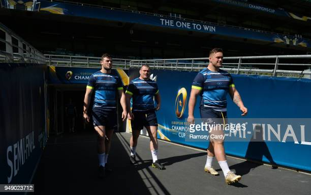 Dublin Ireland 20 April 2018 Robbie Henshaw left Jack McGrath centre and Andrew Porter during the Leinster Rugby captain's run at the Aviva Stadium...