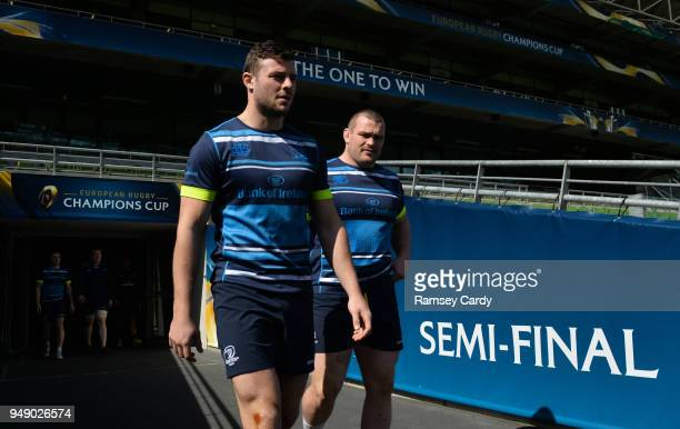 Dublin Ireland 20 April 2018 Robbie Henshaw left Jack McGrath during the Leinster Rugby captain's run at the Aviva Stadium in Dublin
