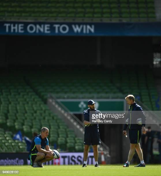 Dublin Ireland 20 April 2018Senior coach Stuart Lancaster left backs coach Girvan Dempsey centre and head coach Leo Cullen during the Leinster Rugby...