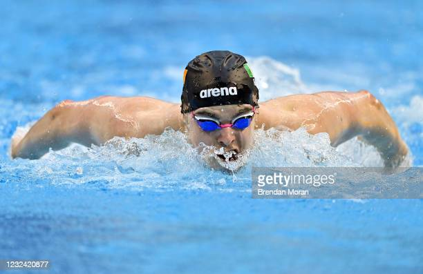 Dublin , Ireland - 20 April 2021; Cillian Melly of National Centre Dublin competes in the 200 metre butterfly on day one of the Irish National...