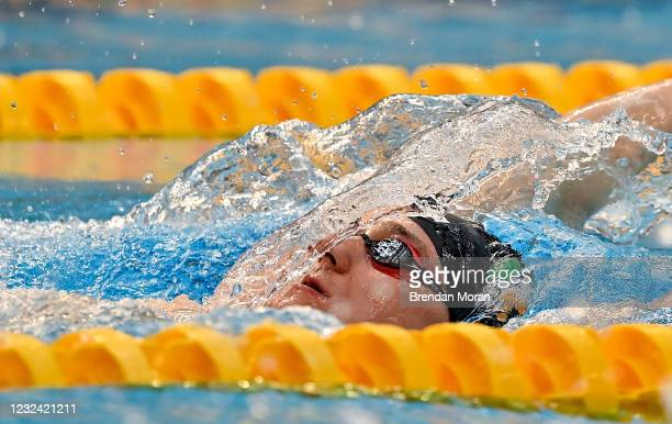 Dublin , Ireland - 20 April 2021; Shane Ryan of National Centre Dublin warms up before the 100 metre backstroke on day one of the Irish National...