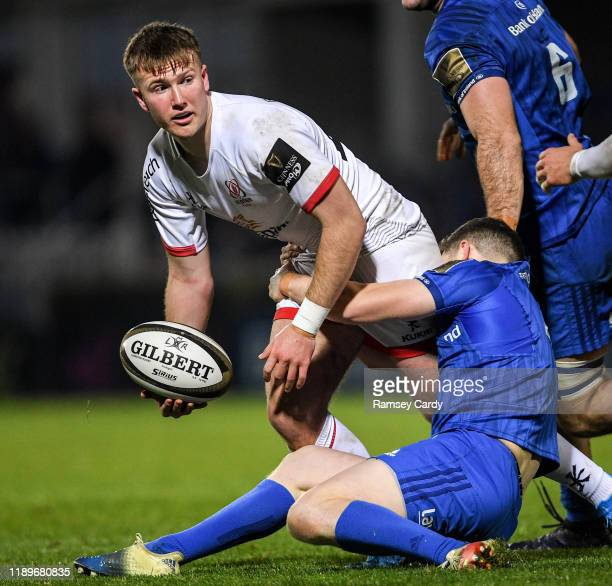 Dublin , Ireland - 20 December 2019; Stewart Moore of Ulster is tackled by Hugh O'Sullivan of Leinster during the Guinness PRO14 Round 8 match...