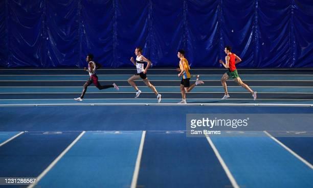 Dublin , Ireland - 20 February 2021; Athletes, from left, Hiko Tonosa of Dundrum South Dublin AC, John Travers of Donore Harriers, Dublin, Darragh...