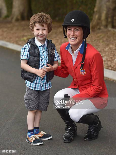 Dublin Ireland 20 July 2016 Brendan Williams age 5 from Ashby England meets Jessica Springsteen after she competed in the Speed Stakes at the Dublin...