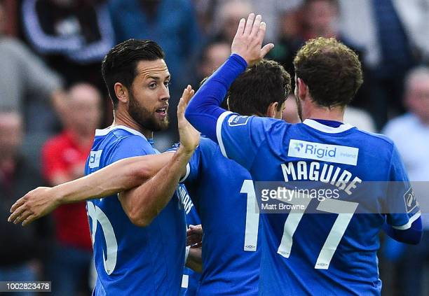 Dublin Ireland 20 July 2018 Billy Dennehy left of Limerick is congratulated by his teammates Karl O'Sullivan Connor Ellis and Barry Maguire after he...
