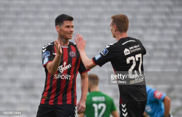 Dublin Ireland 20 July 2018 Dinny Corcoran of Bohemians left celebrates after scoring his side's third goal with teammate Daniel Kelly during the SSE...