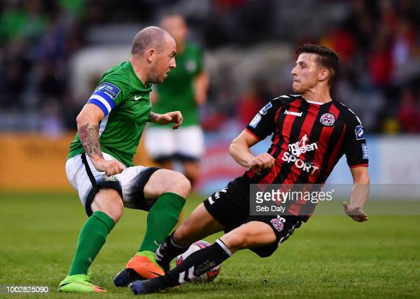 Dublin Ireland 20 July 2018 Evan Moran of Bray Wanderers fails to keep out a header from Rob Cornwall of Bohemians during the SSE Airtricity League...