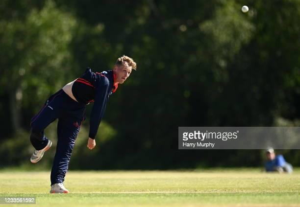 Dublin , Ireland - 20 June 2021; Ben White of Northern Knights bowls during the Cricket Ireland InterProvincial Trophy 2021 match between Northern...
