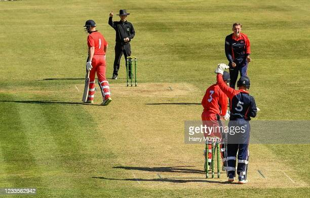 Dublin , Ireland - 20 June 2021; Ben White of Northern Knights celebrates the wicket of Michael Thomson of Munster Reds during the Cricket Ireland...