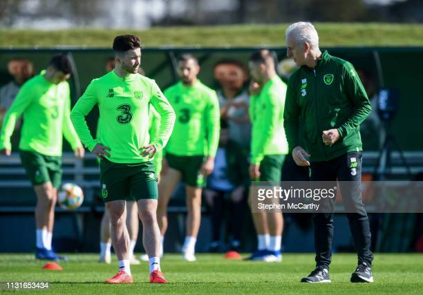 Dublin Ireland 20 March 2019 Republic of Ireland manager Mick McCarthy and Sean Maguire during a training session at the FAI National Training Centre...