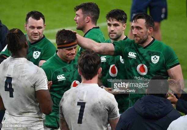 Dublin , Ireland - 20 March 2021; CJ Stander of Ireland is applauded off the pitch following their victory in the Guinness Six Nations Rugby...