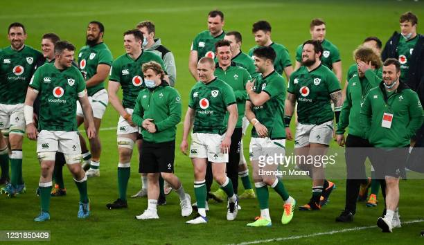 Dublin , Ireland - 20 March 2021; Ireland players, from left, Jack Conan, Tadhg Furlong, Peter OMahony, Bundee Aki, Ryan Baird, Craig Casey, Keith...