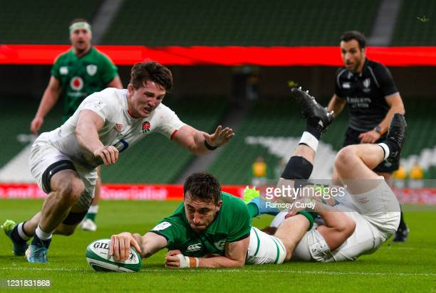 Dublin , Ireland - 20 March 2021; Jack Conan of Ireland dives over to score his side's second try during the Guinness Six Nations Rugby Championship...