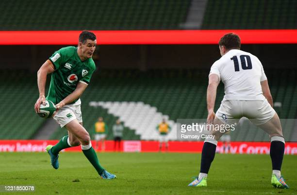 Dublin , Ireland - 20 March 2021; Jonathan Sexton of Ireland in action against George Ford of England during the Guinness Six Nations Rugby...