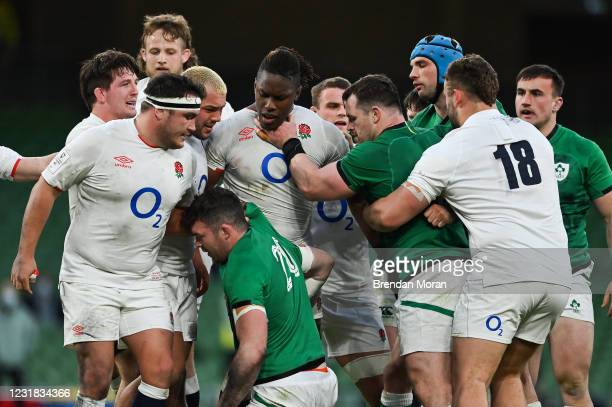 Dublin , Ireland - 20 March 2021; Peter OMahony and Cian Healy of Ireland with Jamie George and Maro Itoje of England during the Guinness Six Nations...