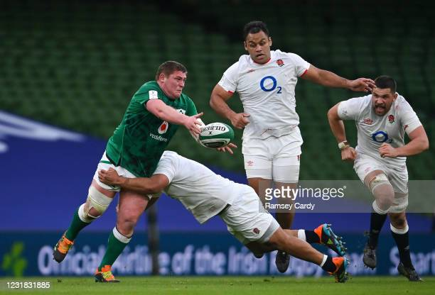 Dublin , Ireland - 20 March 2021; Tadhg Furlong of Ireland is tackled by Mako Vunipola of England during the Guinness Six Nations Rugby Championship...