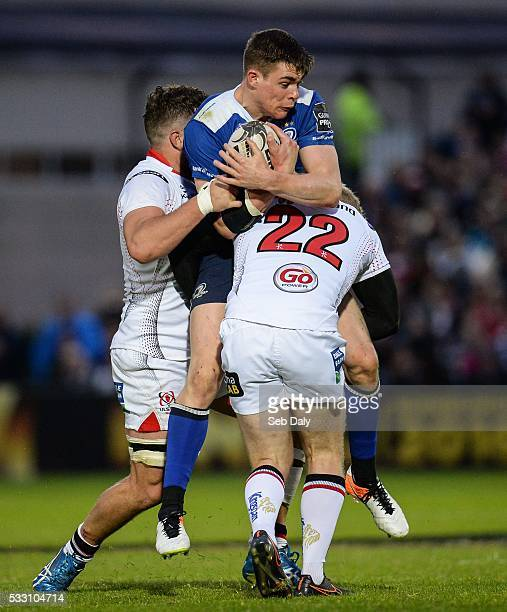 Dublin , Ireland - 20 May 2016; Garry Ringrose of Leinster is tackled by Sean Reidy, left, and Stuart Olding of Ulster during the Guinness PRO12...