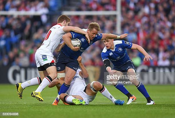 Dublin , Ireland - 20 May 2016; Luke Fitzgerald of Leinster is tackled by Paddy Jackson, left, and Chris Henry of Ulster during the Guinness PRO12...