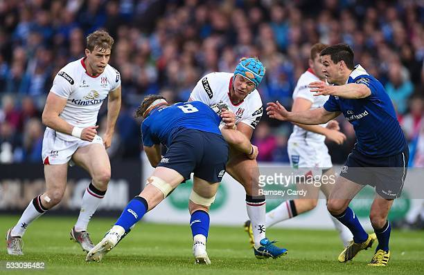 Dublin , Ireland - 20 May 2016; Luke Marshall of Ulster is tackled by Jamie Heaslip of Leinster during the Guinness PRO12 Play-off match between...