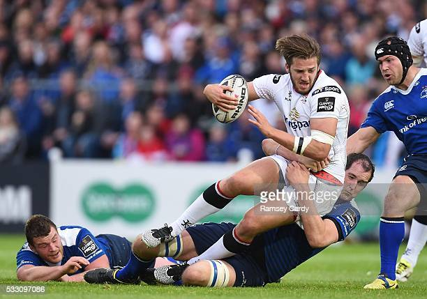 Dublin , Ireland - 20 May 2016; Stuart McCloskey of Ulster is tackled by Jack McGrath, left, and Devin Toner of Leinster during the Guinness PRO12...